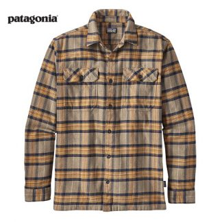 Patagonia Long Sleeve Fjord Flannel Migration Plaid Mojave Khaki