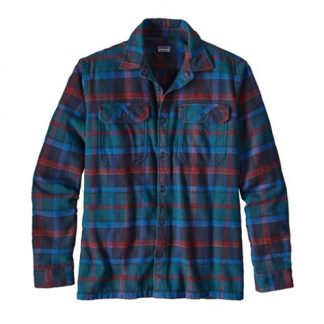 Patagonia M´s L-S Fjord Flannel Shirt Buckstop Plaid-Big Sur Blue